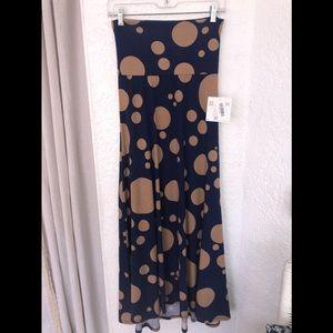 🌼 NWT LuLaRoe Maxi Skirt Blue Tan XXS Polka Dot